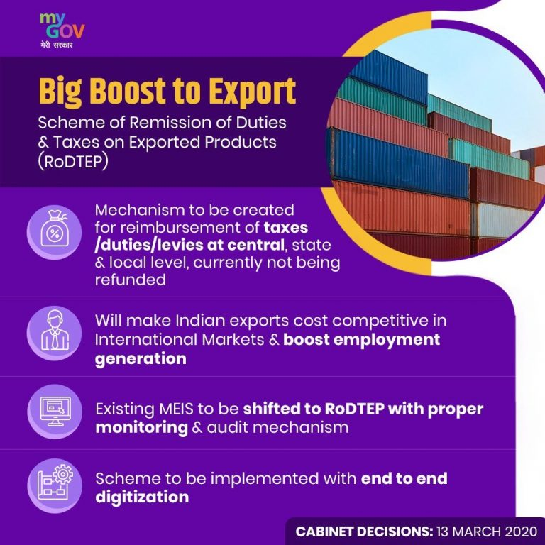 emission of Duties and Taxes on Exported Products RoDTEP Scheme